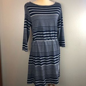 Gap Striped Navy T-Shirt Belted Dress Large
